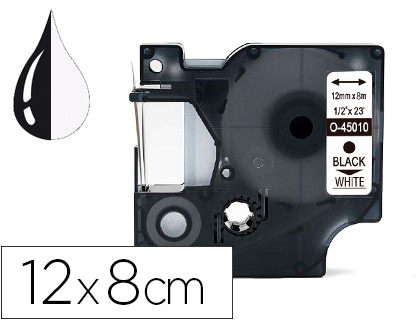 CINTA Q-CONNECT MK-221 BLANCO-NEGRO 9MM LONGITUD 8 MT