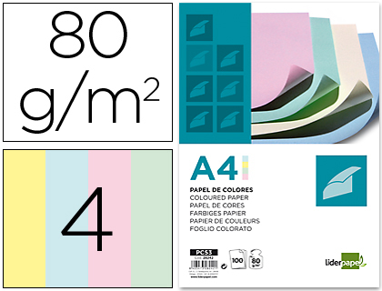 PAPEL COLOR LIDERPAPEL A4 80G/M2 4 COLORES SURTIDOS PAQUETE DE 100
