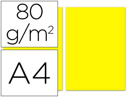 PAPEL COLOR LIDERPAPEL A4 80G/M2 AMARILLO PAQUETE DE 100
